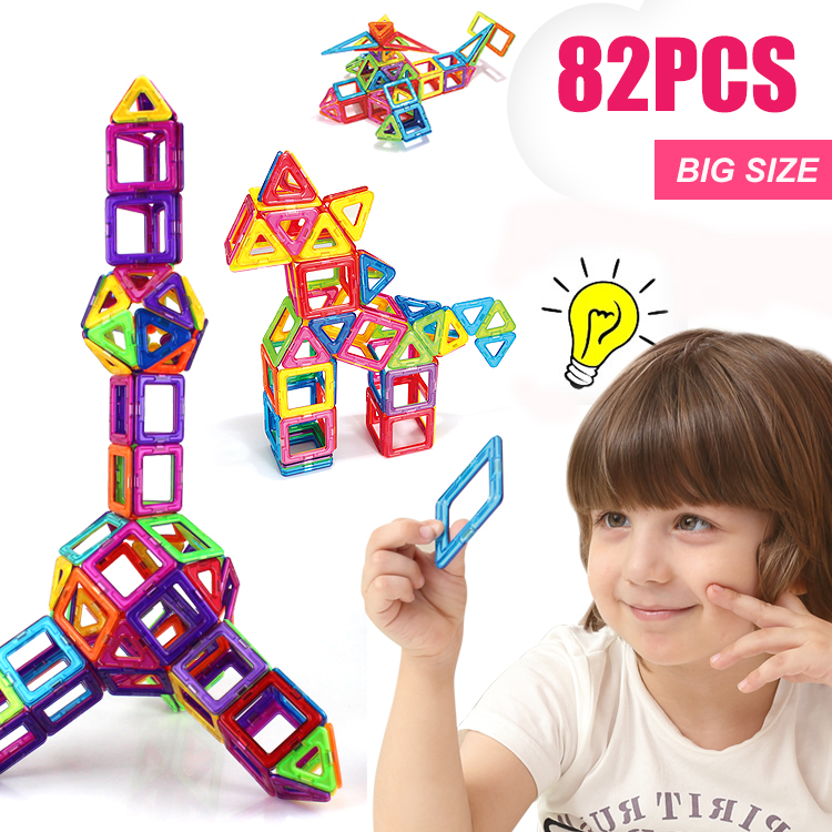 82PCS Regular/Big Size Magnetic Designer Building Construction Toys Set Blocks DIY Magnet Educational Toys for Children