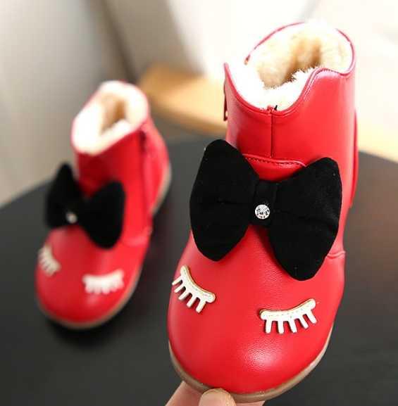 Kış yeni bebek kar botları kızlar kirpik Kore versiyonu pamuk botları bebek pamuk çizmeler yumuşak alt kış 1- 3 yaşında