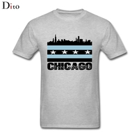 City Of Chicago Flag Shirt For Men Tailored Custom Short Sleeve XXXL Family T Shirts