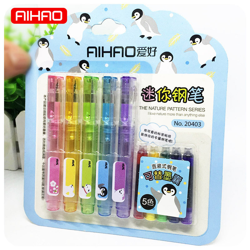 AIHAO 5 pcs/lot Korean Stationery Kawaii Mini Colored Fountain Pen Set With Ink Sac For Kids Gift School Supplies Student the student stationery wholesale prize korean cartoon eraser skateboard 35 pcs set 5 5 2 0 5cm multicolor