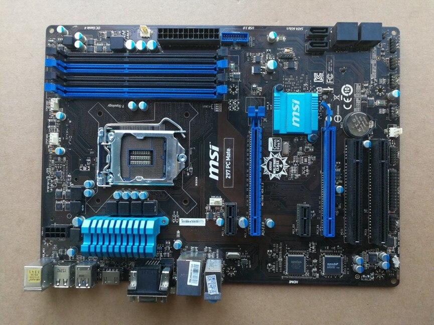Spedizione gratuita originale della scheda madre per MSI Z97 PC Mate LGA 1150 DDR3 USB2.0 USB3.0 VGA DVI HDMI 32G Z97 Desktop scheda madre
