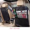 Para nissan qashqai x-trail juke Murano gris negro impermeable del asiento de coche volver proteger al bebé estera cubierta de la caja de accesorios interior