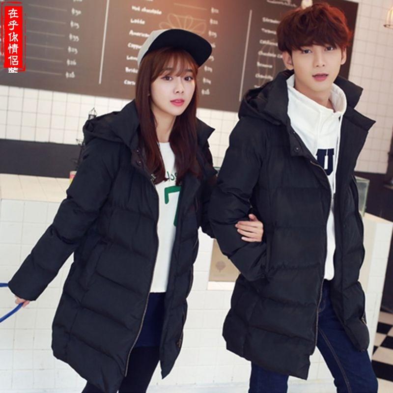 Çiftler elbise kış 2016 yeni erkek ve kadın ceket Kapüşonlu zip uzun bölümünde kalınlaşma pamuk ceket yetiştirmek için