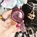 Новые стильные женские часы в Корейском стиле с фиолетовым бриллиантом и большим циферблатом  водонепроницаемые женские кварцевые часы в п...