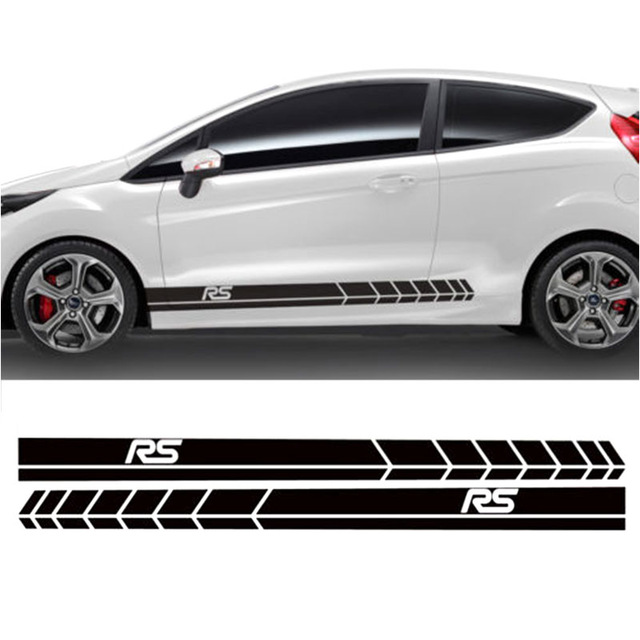Automobile 2pcs FOR Ford Fiesta Side Racing Stripes Decal Graphics /Tuning Car Sticke DA-76422