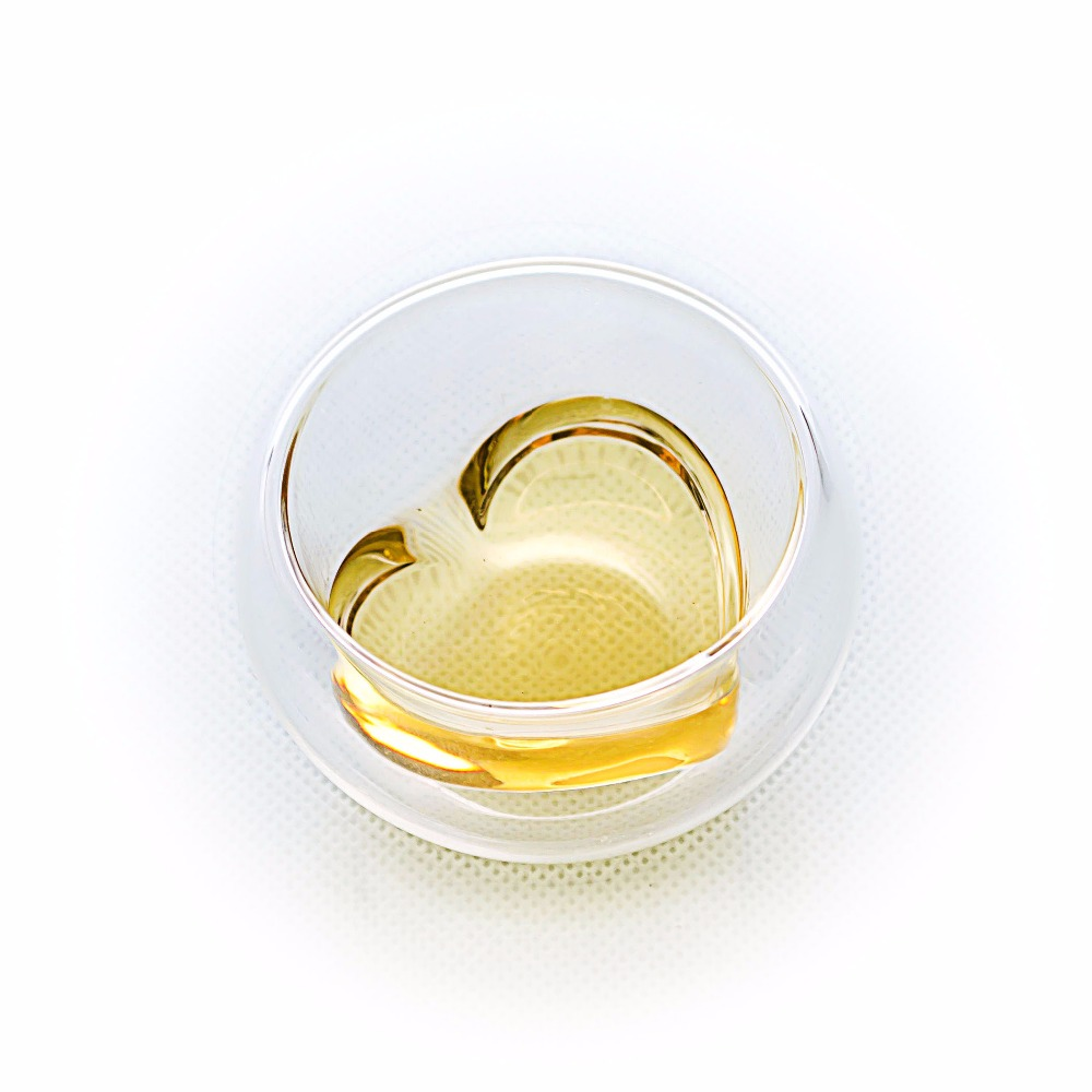 Lots 1.35 fl.oz 40ml Heart Heat Resistant Double Wall Layer Clear Glass Tea Cups