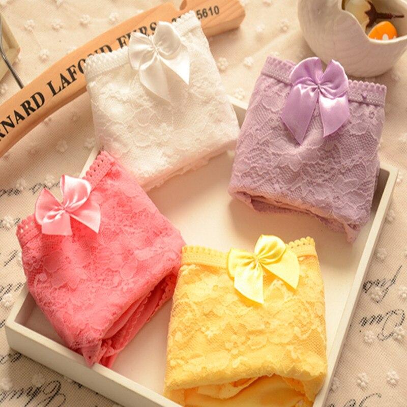 6PCS/LOT Lace Floral bowknot Girl Princess Underwear 100% Cos