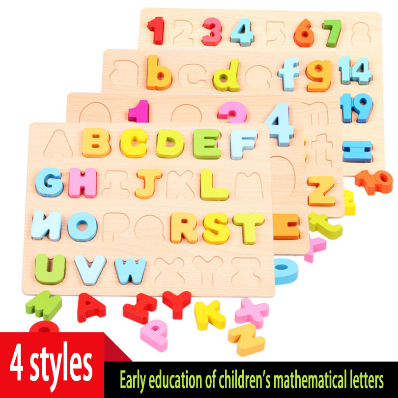colour Wooden toy children infant early education puzzle jigsaw puzzle digital geometric hand grasping board 3 + hand grasp knob pegged puzzle wooden quality animals characters letter cognitive board children recognization toys