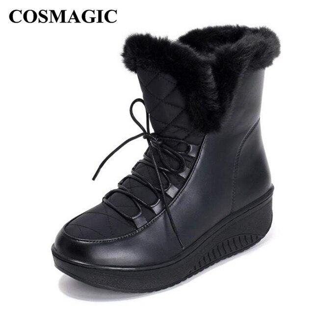 COSMAGIC 2018 New Women Ankle Snow Boots Nubuck Wedge Med Heel Lace Up Keep  Warm Platform d0e1bb6514b3