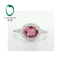 NEW Solid 14K White Gold 1 55ctw Natural Pink Tourmaline Diamond Engagement Ring