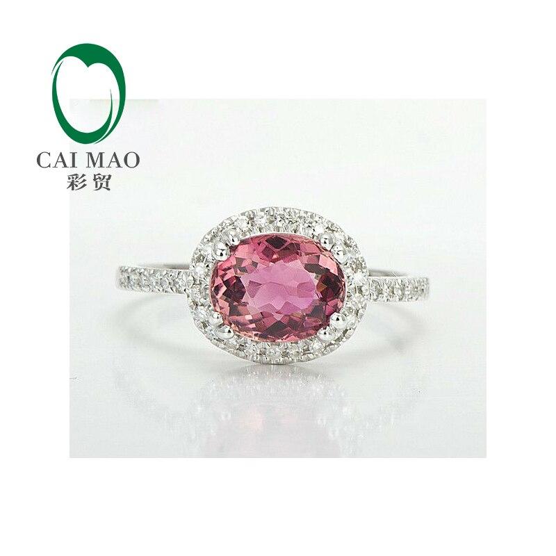 Новые 14 К белого золота 1.55ctw Природный розовый турмалин АЛМАЗ Обручение кольцо
