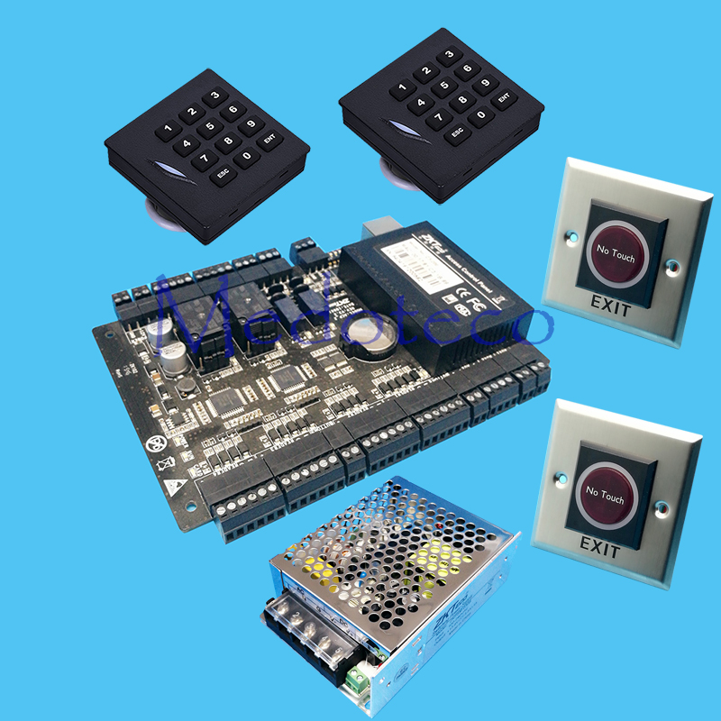 DIY Full access control panel System +12V3A Power +Keyapd KR102E rfid Reader + No touch Button Rfid Card Access Control C3-200