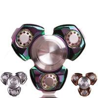 Stainless Steel EDC Hand Spinner Superior Hybrid Ceramic Bearing Metal Tri Fidget Spinner Fidget Finger Rotation