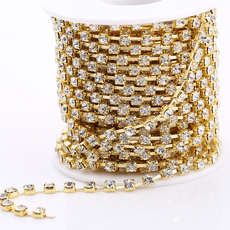 RESEN 10yards roll SS6 SS18(2mm 4.5mm)Silver Gold Base Clear Crystal Rhinestone  Chain Apparel Sewing Glass Rhinestone Cup Chain-in Rhinestones from Home ... 290cdcb5968e