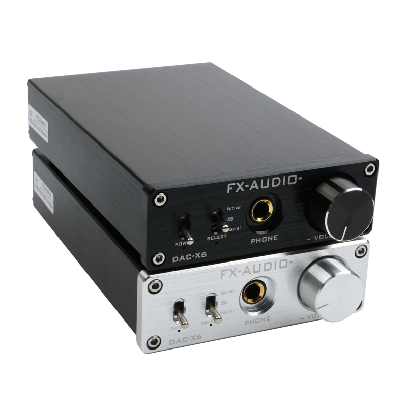 FX-AUDIO DAC-X6 MINI HiFi 2.0 Decodor audio digital DAC Intrare USB / coaxial / optic RCA / căști Amplif 24Bit / 96KHz DC12V