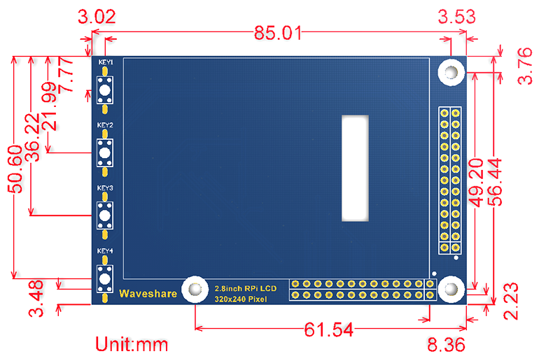 ᗐWaveshare 2.8inch RPi LCD (A) 320 240 Resistive Touch Screen LCD ... 08967bd0362