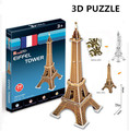3D Puzzle Cubicfun Architecture Cardboard Model Toy Eiffel Tower World Famous Building Assembly DIY Toys For Kids