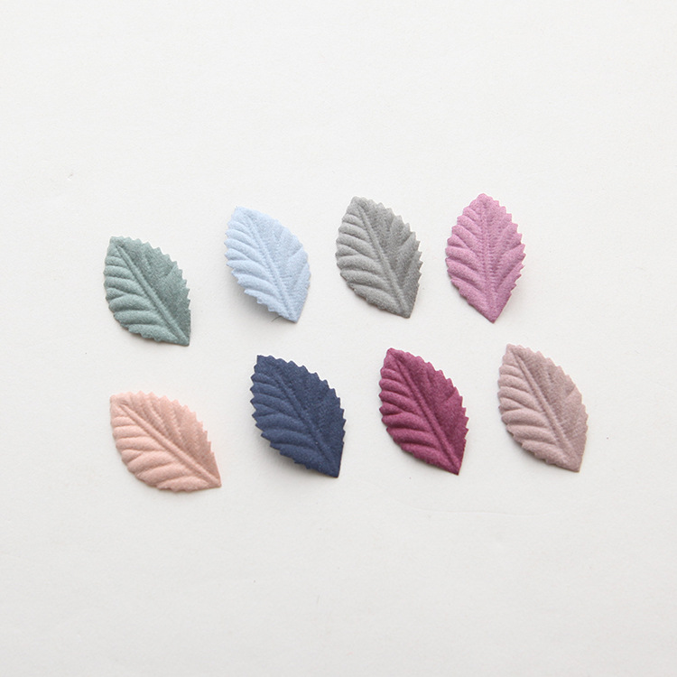 50pcs/lot 35mm x 15mm Handmade Artificial Fabric leaf for making Women Headwear Brooch Accessories