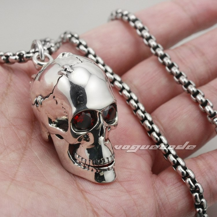 Solid 925 Sterling Silver Red Eye Skull Mens Biker Pendant 8C013 Biker Jewellery(Necklace 24inch) solid 925 sterling silver claw skull mens biker pendant biker jewellery 8c007 necklace 24inch
