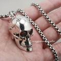 Solid 925 Sterling Silver Red Eye Skull Mens Biker Pendant 8C013 Biker Jewellery(Necklace 24inch)