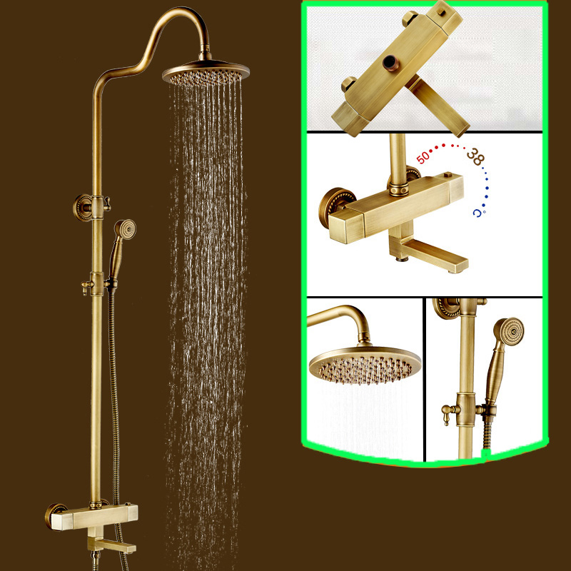 "Brass Thermostatic Shower Faucet Mixing Valve Dual Handle: Brass Antique Two Handles 8"" Rainfall Shower Head Rotate"