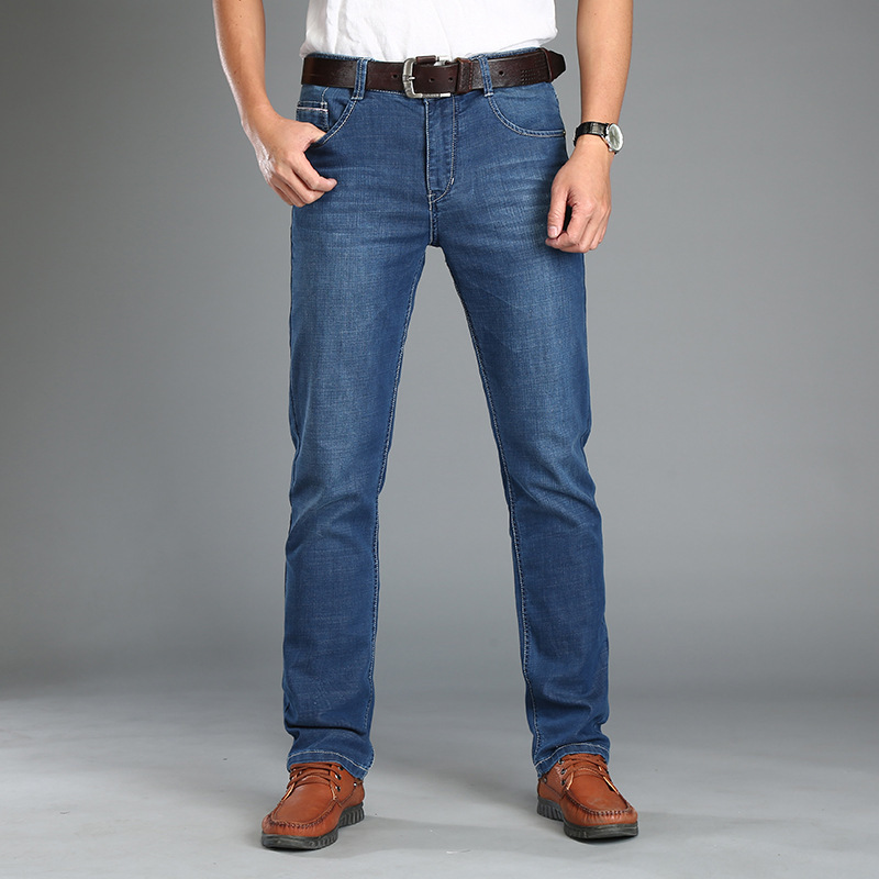 Brand font b jeans b font font b men b font high quality straight stretch slim