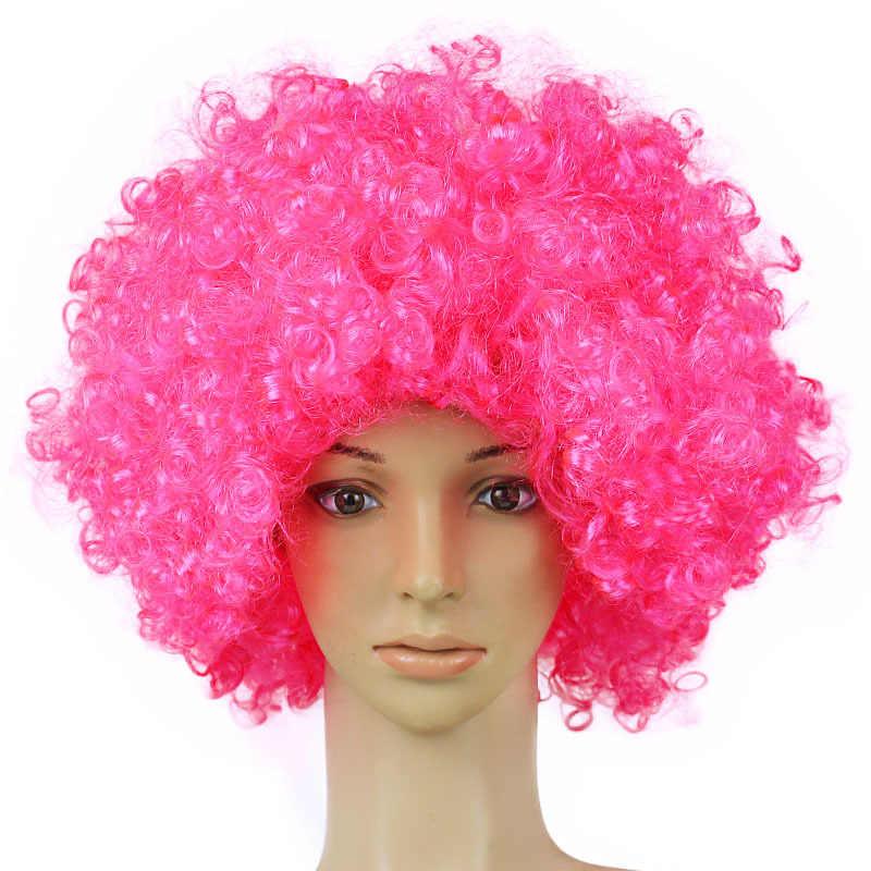 Clown fanów karnawał peruka Disco czapka kapelusz śmieszne kostiumy sukienka etap robić zabawne Joker dorosłych dziecko kostium Afro peruka z kręconych włosów party rekwizyty