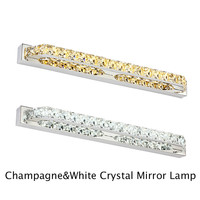 Vintagelll Crystal LED Mirror Light 100 240V 40/56/68/87/100cm Champagne/White Stainless Steel Bedroom Wall Lamp