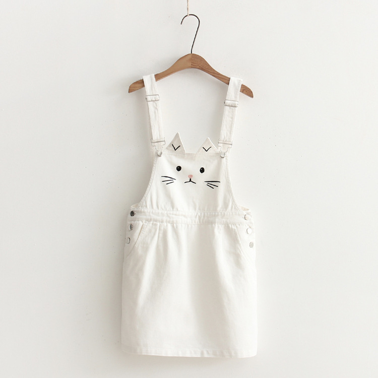 2018 New Summer Women Suspender Dress Harajuku Cute Cat Embroidery Female Overalls Strap Jeans Dresses Sundress Denim  Dress