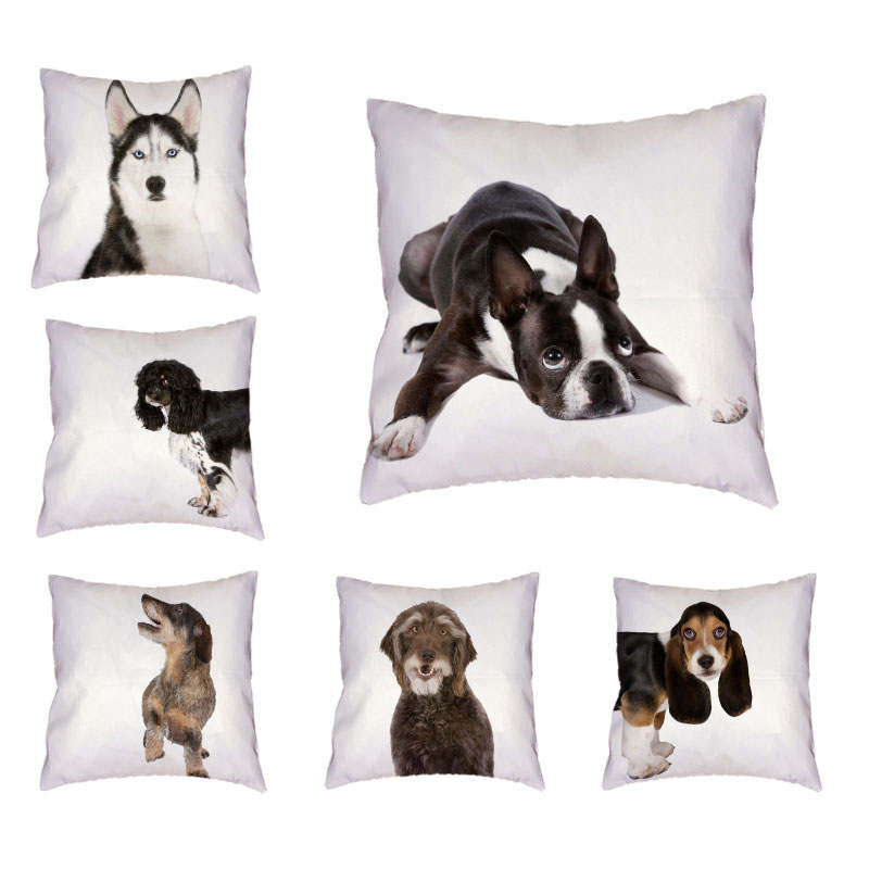 Decorate Home Office Sofa Bichon Labrador Cushion Cover 45*45cm Siberian Husky Basset Hound Greyhound Schnauzer Throw Pillowcase