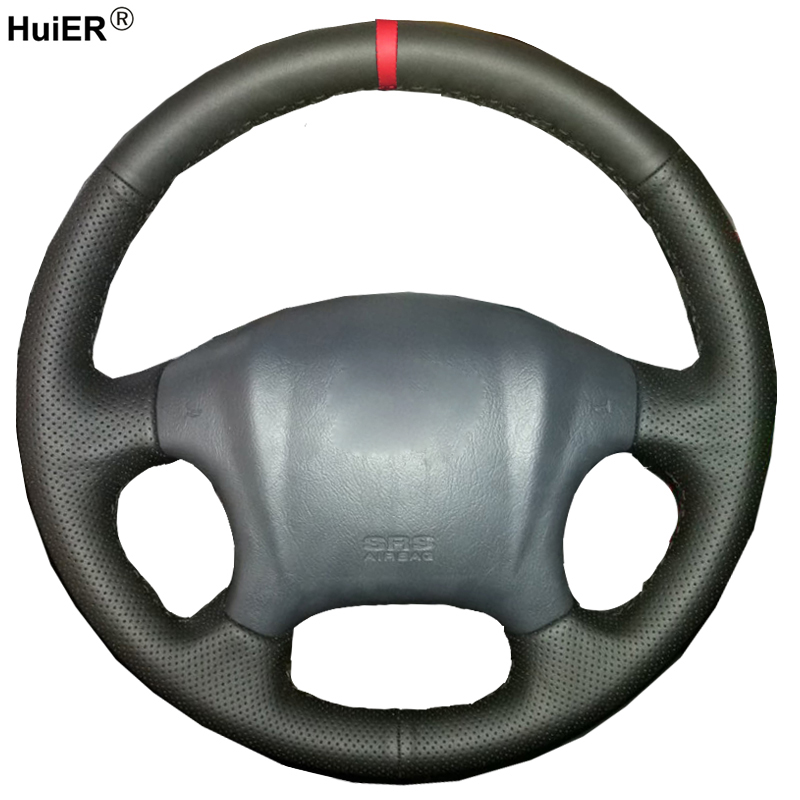 HuiER Hand Sewing Car Steering Wheel Cover For Hyundai Tucson 2006 - 2008 2009 2010 2011 2012 2013 2014 Red Marker Comfortable huier hand sewing car steering wheel cover black leather for land rover discovery 3 2004 2009 steering wheel auto accessorie