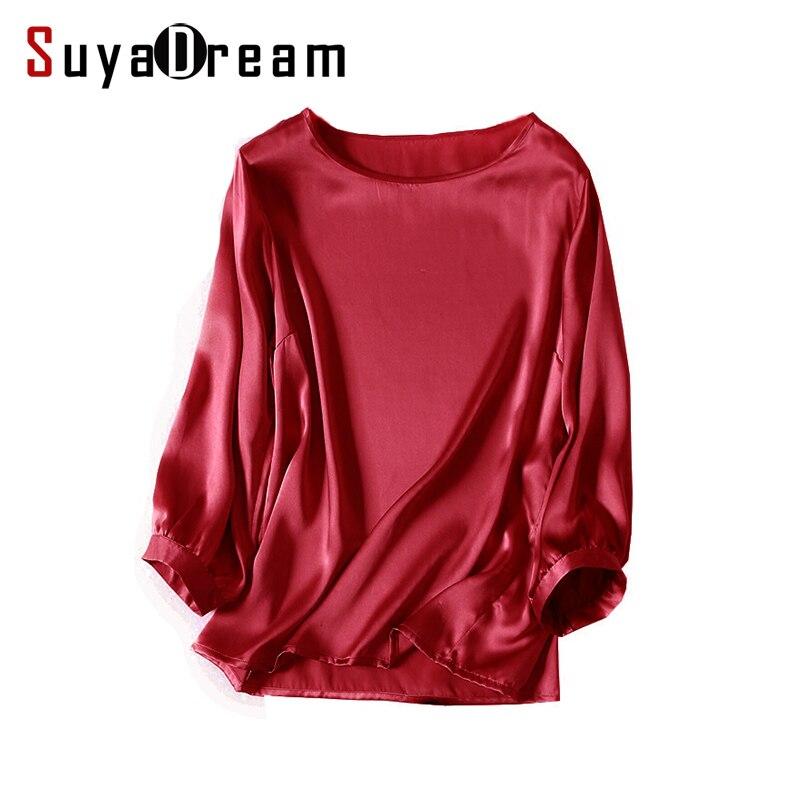 Real silk women white t shirt 3 4 sleeve 100 satin silk for Silk white t shirt