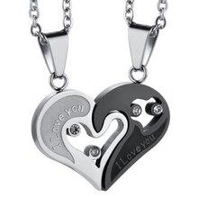 1 пара модная пара в форме сердца I Love You ожерелье с подвеской унисекс влюбленные пары ювелирные изделия мода