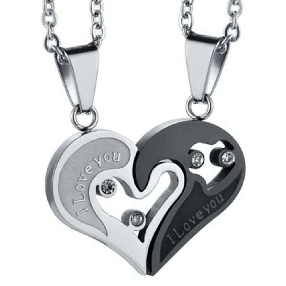 1 Pair Fashion Couple Heart Shape I Love You Pendant Necklace Unisex Lovers Couples Jewelry Fashion