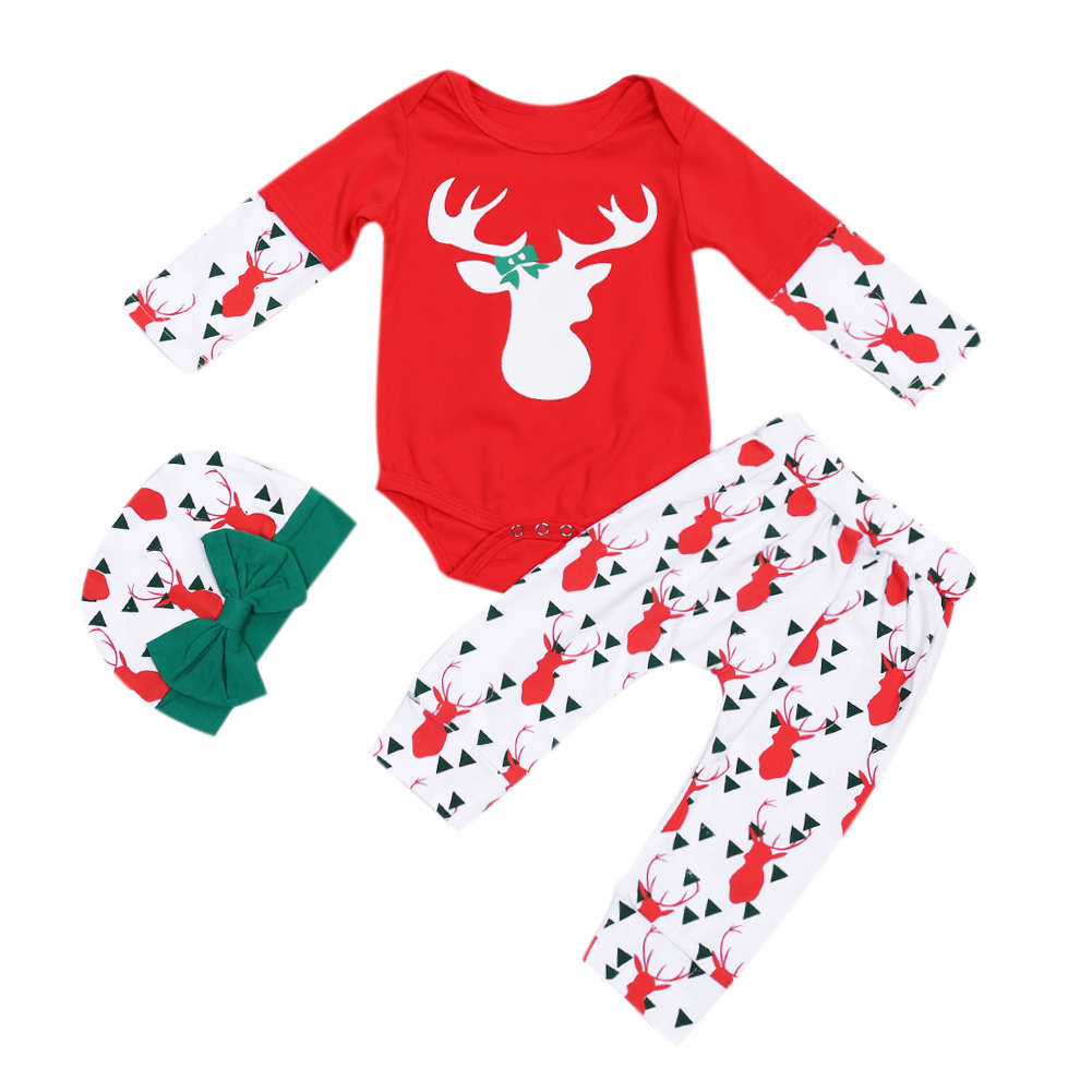 Christmas Newborn Toddler Baby Boy Girl Unisex Deer Printed Romper Pants With Hat 3Pcs Outfits Set Clothes Xmas Baby Clothing