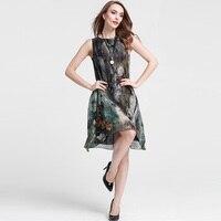 Silk Summer Dress 2576 Natural Silk And Linen Sleeveless Sundress 2015 New Designal Dress Vintage Women