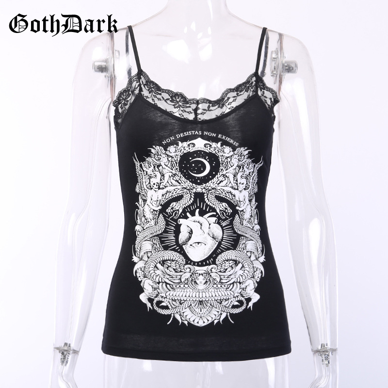 Goth Dark Black Print Punk Grunge Gothic Tops Vintage Patchwork Lace Harajuku Backless Transparent Tshirt Autumn 2019 Hole Sexy in Camis from Women 39 s Clothing