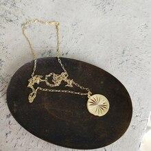 LouLeur 925 sterling silver splendere tondo sprazzo di sole collana pendente in oro di disegno di modo della collana del choker per le donne di fascino dei monili