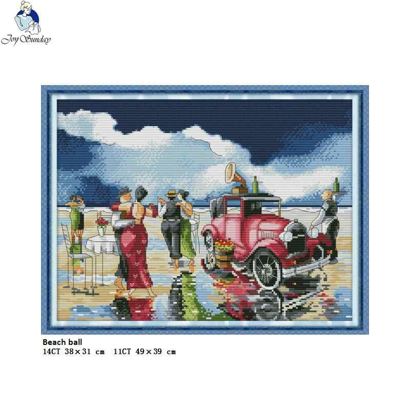Joy Sunday Beach Party Counted Cross-stitch 11CT 14CT DMC DIY Hand Cross Stitch Fabric for Embroidery Home Decor Needlework