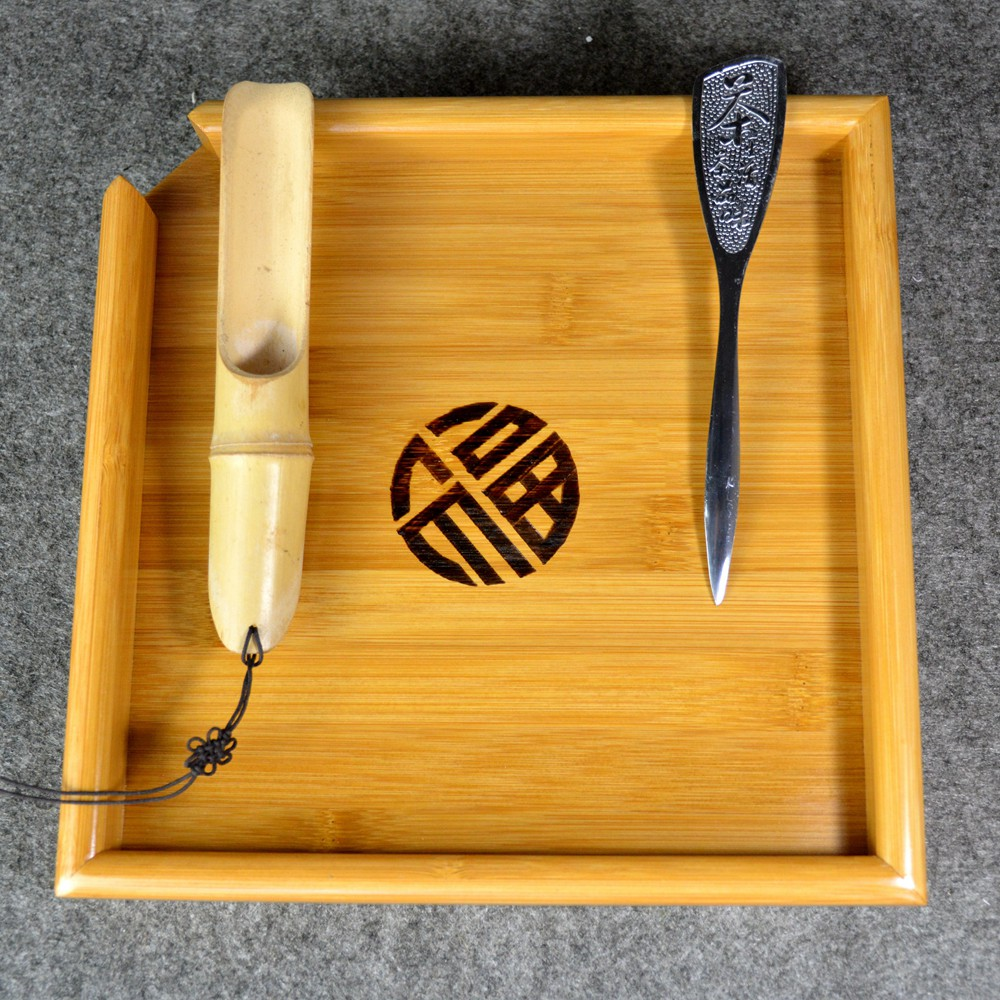 Naturale Kung Fu Bamboo Tea Tray + Spoon + Knife Puer Tea Board set Per Mostra da hong pao Cerimonia del Tè Strumenti Accessori