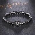 Fashion Black Bracelets Mens 6mm Beads Bracelet Micro Pave CZ Evil Eyes Elastic Bracelets&Bangles Luxury Men Jewelry Masculina