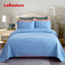 LeRadoreCustom Blue Solid Quilting Bedspread Coverlet 3pcs Cotton Stitching Bed Linens Motel Home Hotel Bedspread Set Pillowcase bedspread eponj home bedspread