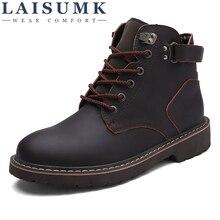 LAISUMK Split Leather Men Boots Spring Autumn And Winter Man Shoes Ankle Boot Mens Snow Shoe Work Plus Size 38-44
