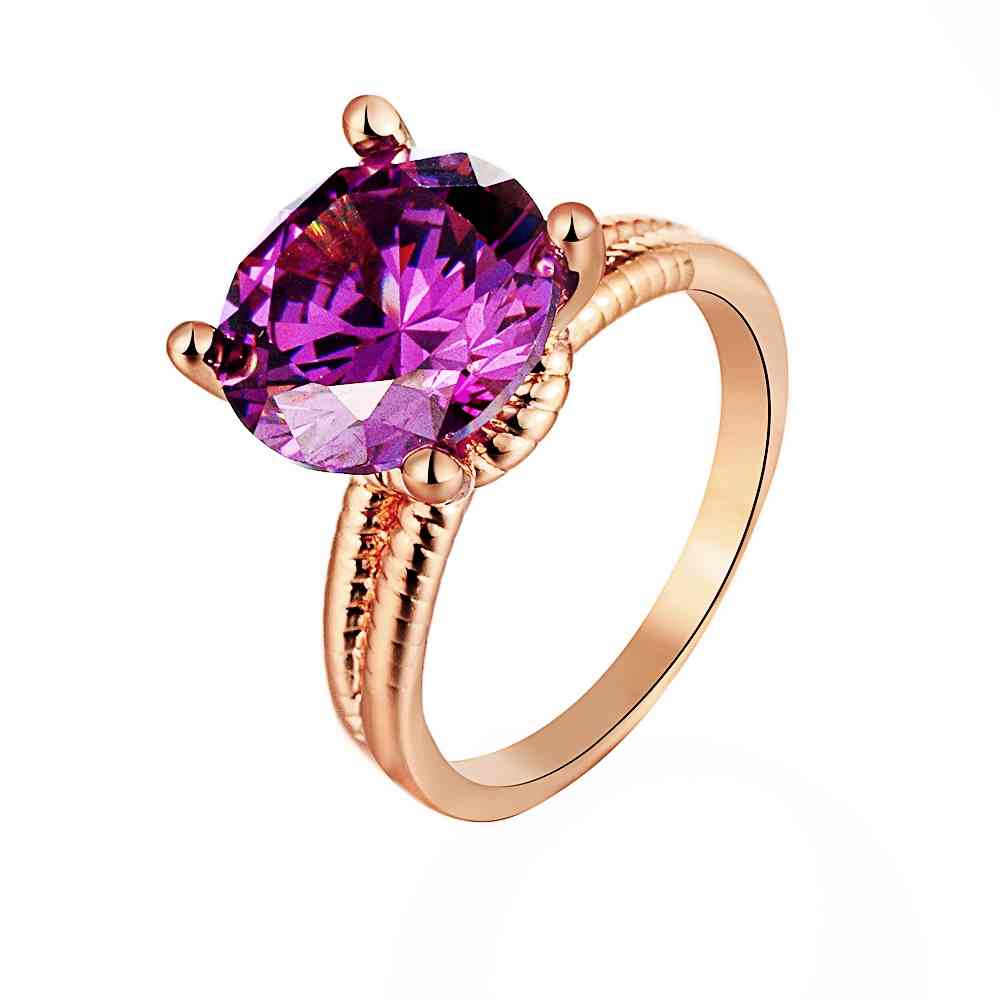 Free Shipping 2016 Newest Women Jewelry Gold Color Rings Big Purple Gem  Anillos Costume Jewellery Hbr190