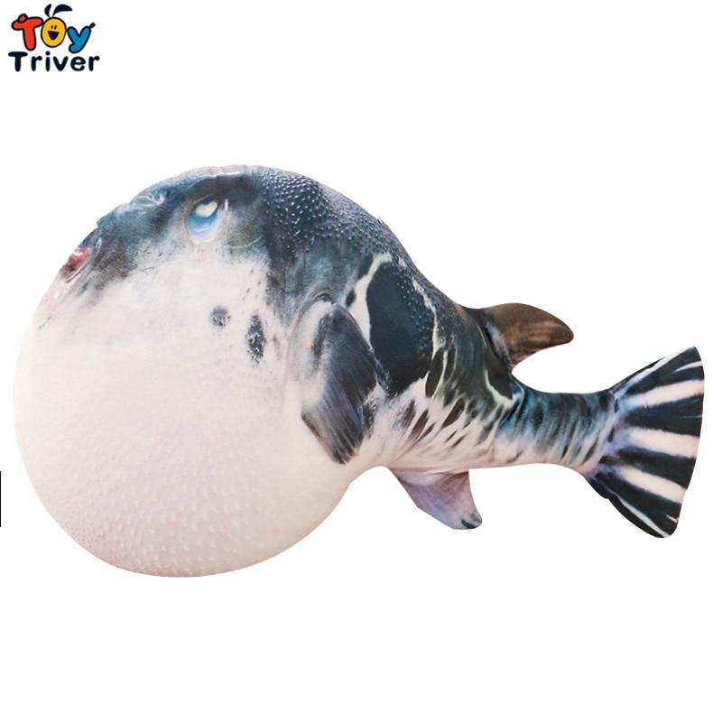 Puffer Fish Plush Toy Stuffed Sea Animals Doll Baby Kids Children Boy Girl Birthday Gift Home Shop Decor Pillow Cushion Toys