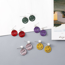 Korean Cute Simple Geometric Round Smile Face Letters Woman Girls Stud Earrings Fashion Jewelry Holiday-KQQE цена