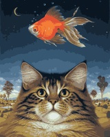 MaHuaf I128 Cute Cat Fish Moonlight DIY Coloring By Numbers Digital Oil Painting Hand Painted Painting