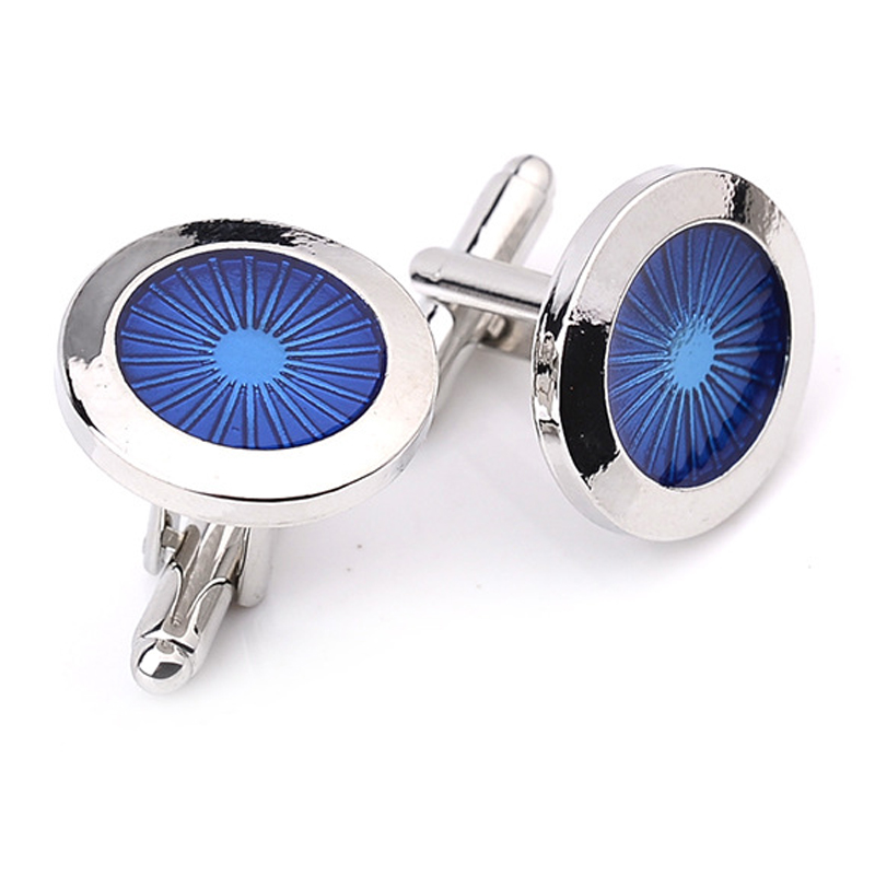 Classic Blue Round Cufflinks For Men Brand Cuff Buttons Cuff Link High Quality Abotoaduras Gemelos Luxury Light Designer Jewelry
