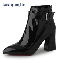 Pointed Toe Chelsea Boots Fashion Office Party Patent Leather Buckle Ankle Boots Black Red Wine Thick With Autumn Woman Shoes