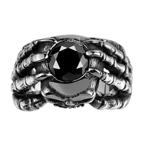 Men's Titanium Color Cubic Zirconia Ring Hiphop Rock Party Skeleton Bridal Sets Jewelry